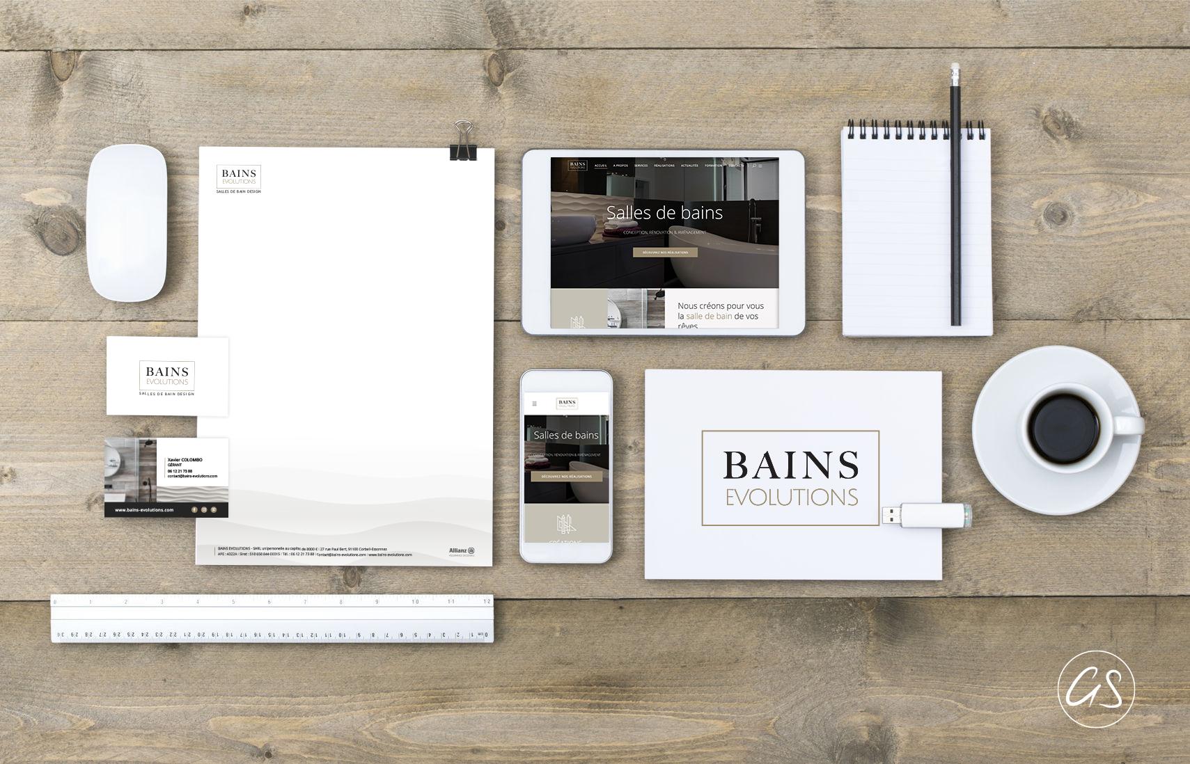 Identité visuelle artisan BAINS EVOLUTIONS - REnovation Salle de Bains dans l'Essonnes (91)